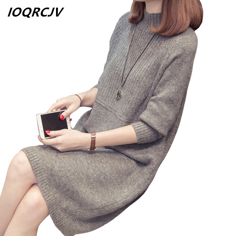 IOQRCJV Turtleneck Sweater Dress 2019 Women Fashion Autumn Winter Knitted Pullovers Sweaters Long Sleeve Jumper Pull Femme S184