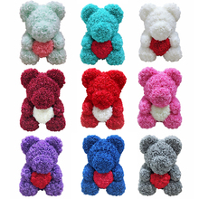 Artificial Flowers 40cm Teddy Rose Bear With heart Girlfriend  Christmas Valentines Day Gift Birthday Present For Wedding Party