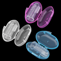 1lot Baby Finger brush+baby tooth Box Children Teeth training toothbrush Soft Silicone Infant Rubber Cleaning Massager Set