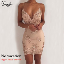 2019 New Sexy Black Gold Sequins Summer Dress Women Midi bodycon Party dress elegant Luxury Night club Dresses vestidos clothes(China)