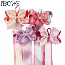 Candy Color Satin Hair Bows With Long Barrette Holder For Girls Kids Clip Organizer Grosgrain Ribbon Storage Belt
