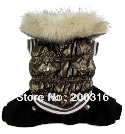 Brown New  Bubble Down winter coat for dog Free shipping dogs winter coat