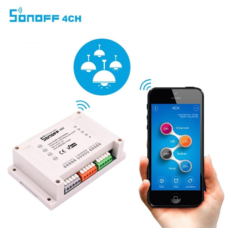 ITEAD Sonoff 4CH Remote Control WIFI Switch Smart Hs