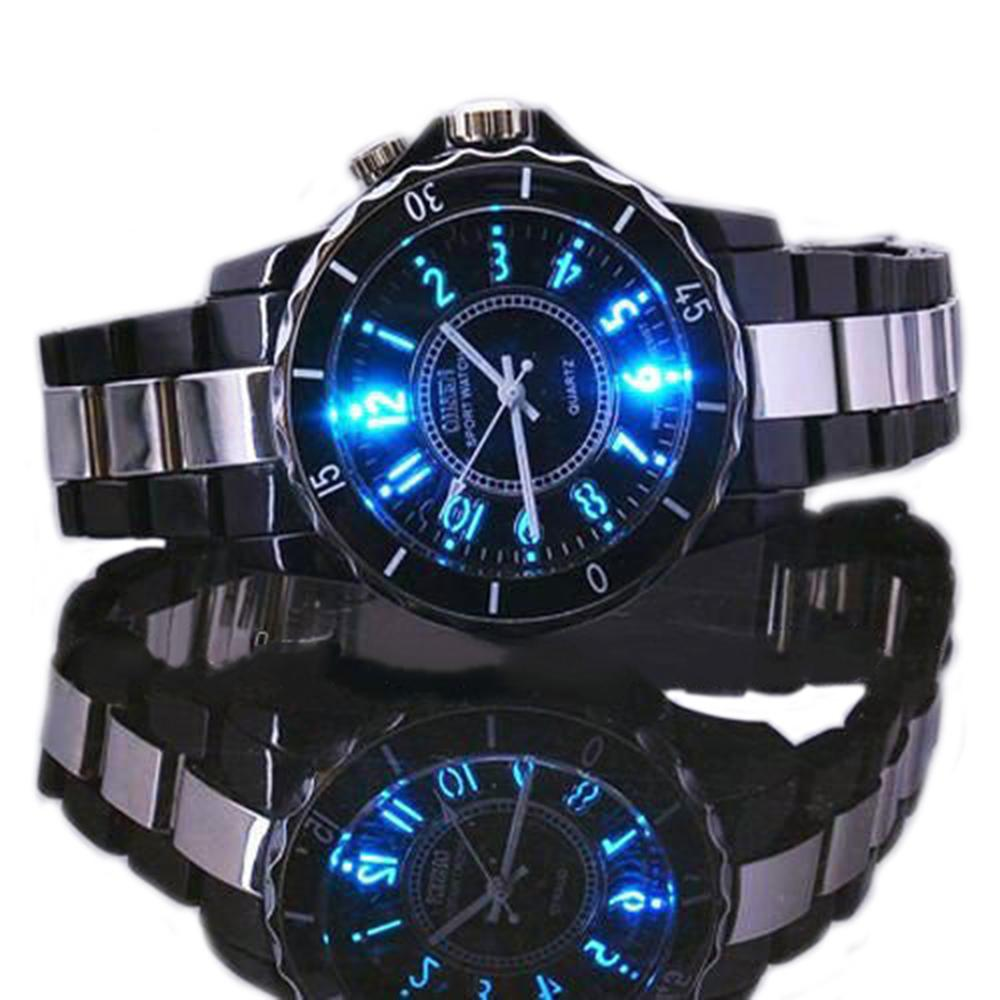 Men Boy Sports Stainless Steel LED Light Round Dial Quartz Analog Wrist Watch Men Boy Sports Stainless Steel LED Light Round Dial Quartz Analog Wrist Watch