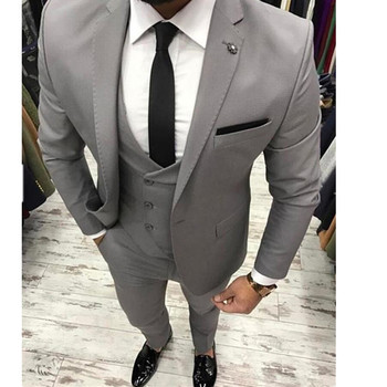 Custom Made New Style Grey Men Suits Slim Fit 3 Piece Skinny Wedding Suits Prom Suits Groom Wear Men Blazer (Jacket+Pants+Vest)