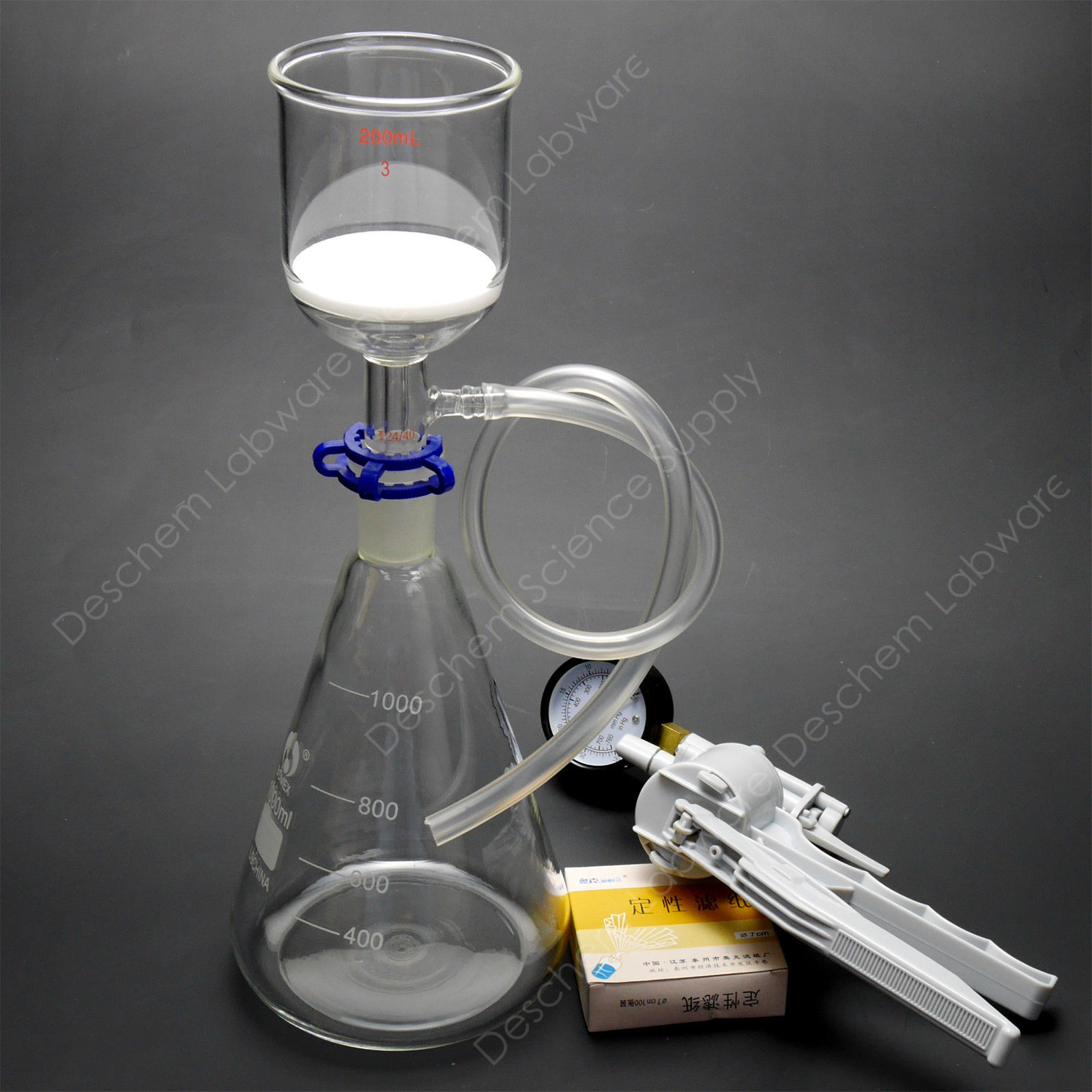 1000ml Lab Suction Apparatus 200ml Funnel 1L Flask W Vacuum Pump Filter Paper