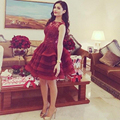 Saudi Arabic Short Mini Organza Cocktail Dresses Lace Tiereds Skirts Puffy Red Gowns