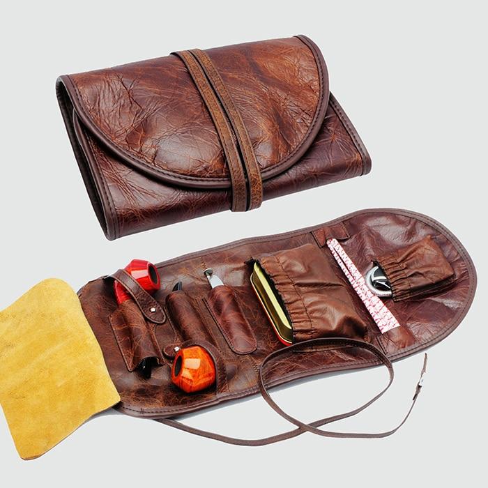 Sac de pipe à tabac en cuir véritable (tenir 2 pièces) sac de pipe à fumer pochette de tuyau outils de fumer accessoires (seulement la pochette)