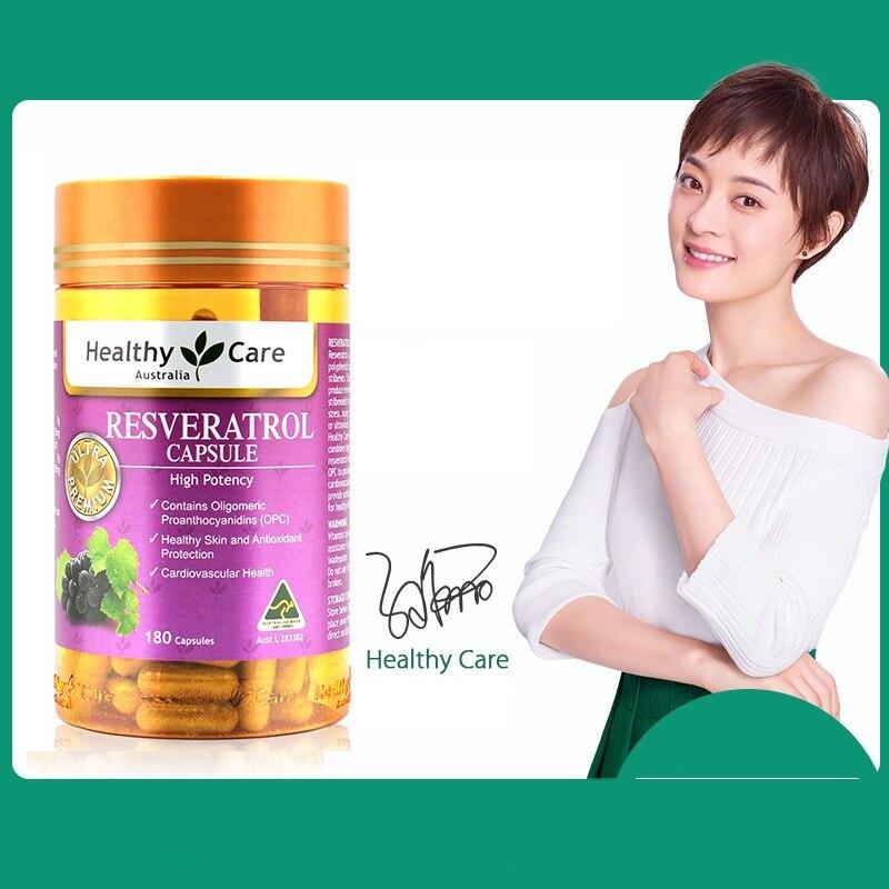 Australia Healthy Care Resveratrol 180Cap Potent Antioxidant Grape Seed OPC Support Women Skin Cardiovascular Health Anti-ageing
