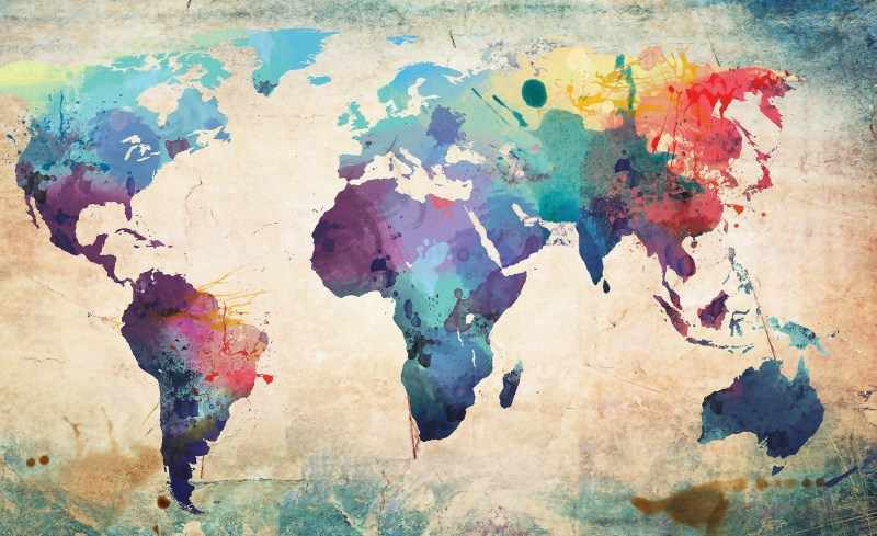 Modern Abstract Large World Map Poster World Map Watercolor Canvas painting  Home Decoration No Frame 374