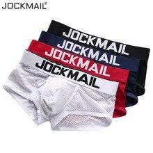 JOCKMAIL 4 stks/partij Sexy Mannen Ondergoed Boxer Ademend Mesh Mannelijke Onderbroek U bolle Mannen Boxer Heren Trunks Zomer mannen kleding