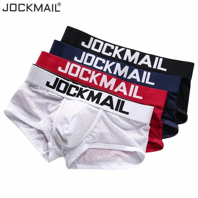 Jockmail cueca boxer masculina, malha respirável, convexo u, roupa íntima para homens verão pçs/lote roupas