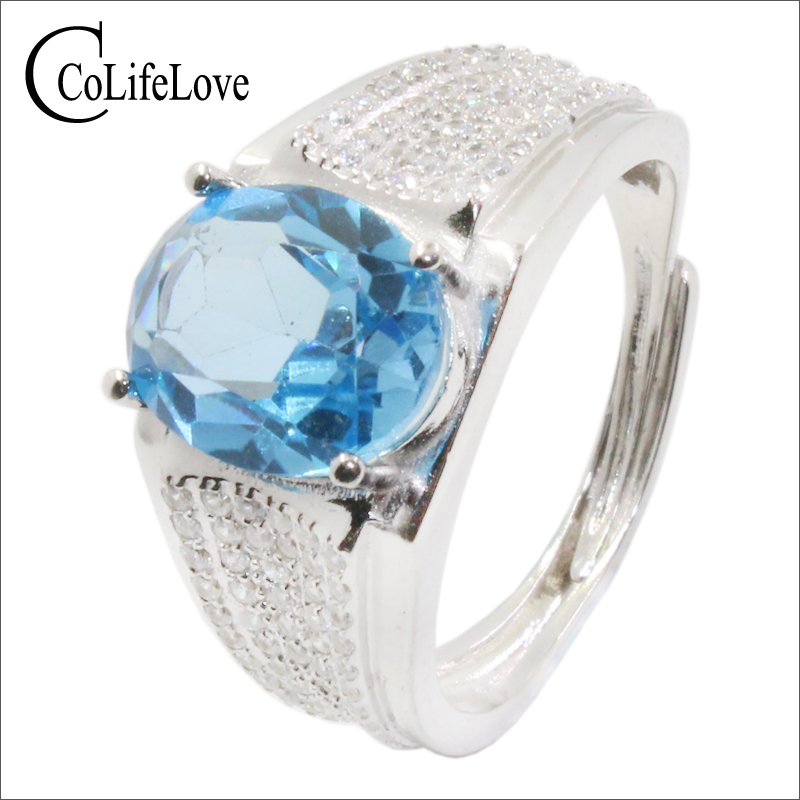 CoLife Jewelry Fashion Man Jewelry 3ct Natural Topaz Silver Ring For Man 925 Silver Topaz Ring Birthday Gift For Man
