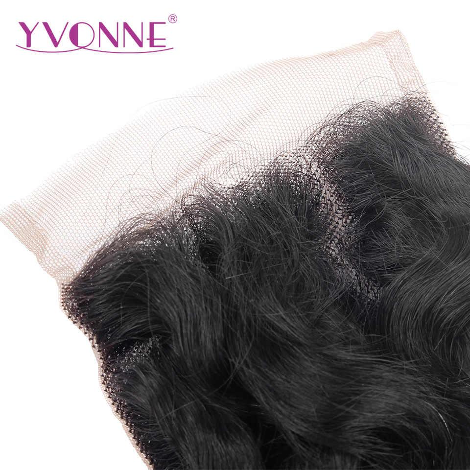 YVONNE włoski kręcone zamknięcie koronki brazylijski dziewiczy uzupełnienie splotu ludzkich włosów 4x4 wolna część Natural Color