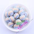 Free Shipping 20MM 100Pcs/Lot Lavender/Aqua/Pink/Yellow Chunky Stripe Resin Rhinestone Bead For Easter Day CDBD-601539