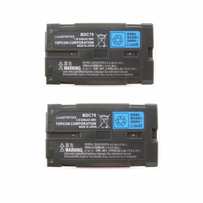 2Pcs/Lot BDC70 Li Ion Battery For Topcon Sokkia Total Stations Robotic Total Stations single prism with soft bag for leica type total stations