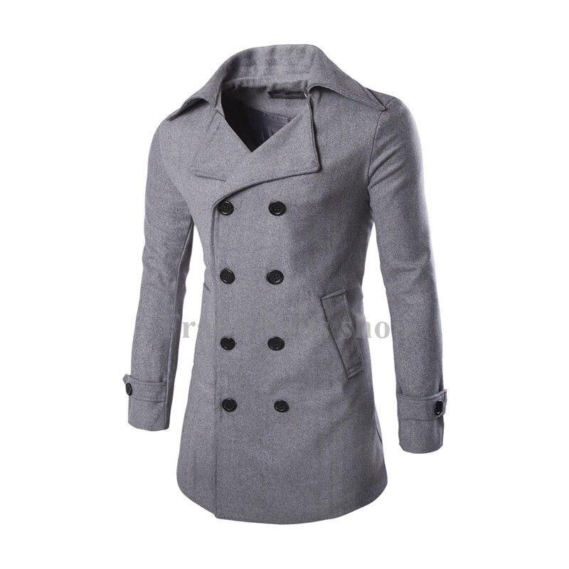 2017 Maßgeschneiderte High Grade Grau Mäntel Herrenmode Neue Moderne Wollmischung Zweireiher Mäntel Seien Sie Im Design Neu