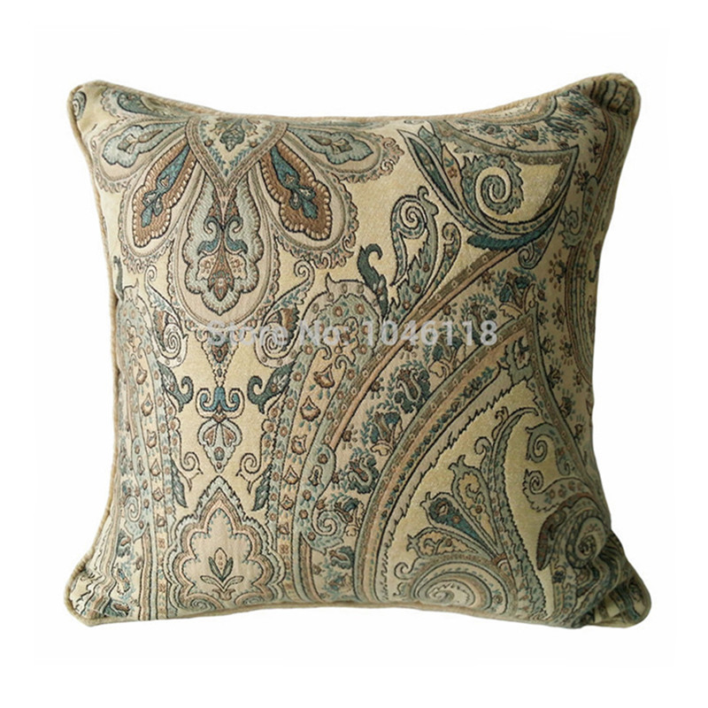 Classic Soft Beige Chenille Paisley Damask Throw Cushion Cover Sofa Square Decorative Home Pillow Case 45 x 45cm Sell by piece