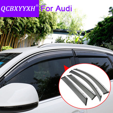 QCBXYYXH Car Styling Awnings Shelters 4pcs/lot Window Visors For Audi A3 A4 A6 Q3 Q5 Q7 Sun Rain Shield Stickers Covers