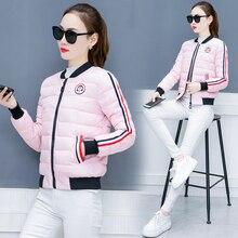 YICIYA pink thick warm winter coat women parka 2018 coats long sleeve female clothing jaket fashion outerwear striped black red