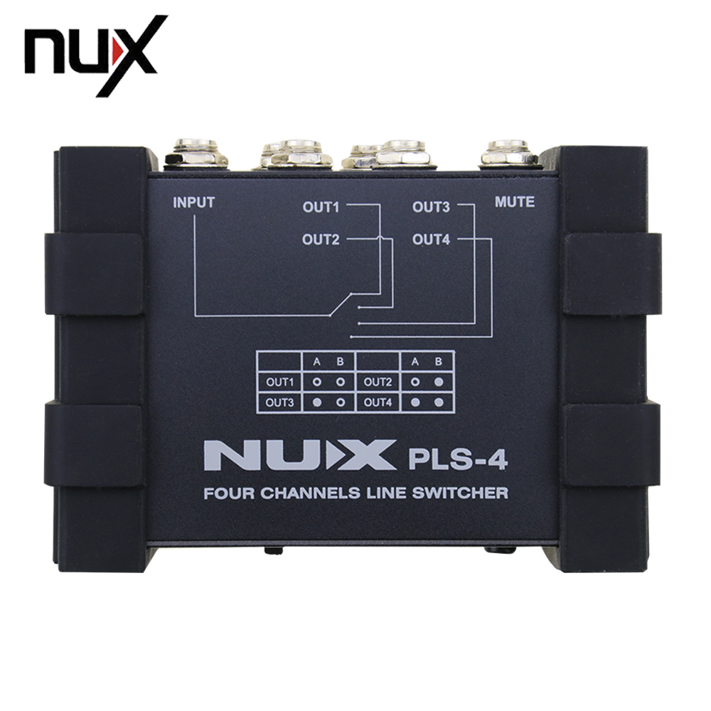 NUX Pro-Audio PLS-4 Guiatr Four-Channel Line Switcher Switch 6 Devices With More Than 128 Presets 4 way live production switcher video mixer four channel ntsc pal video switch cmx109