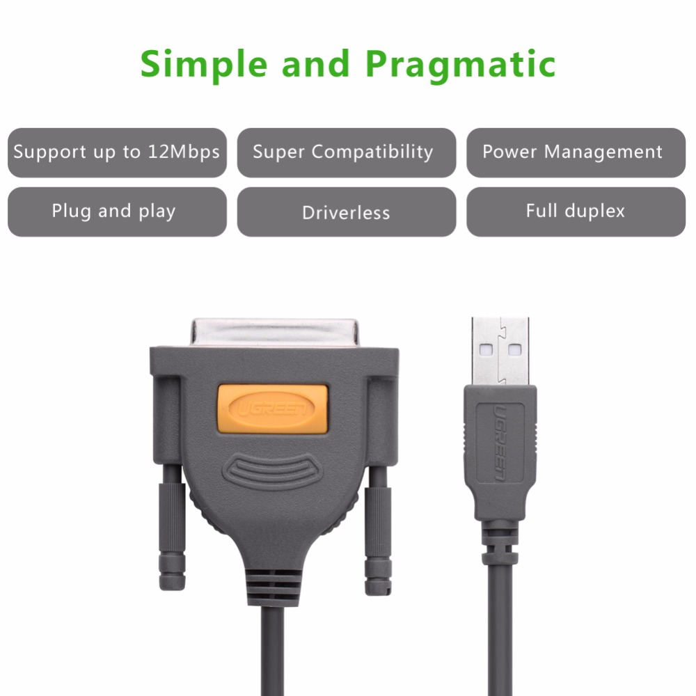 Ugreen USB Druckerkabel DB25 zu Parallel Stecker auf Buchse LPT DB25 ...