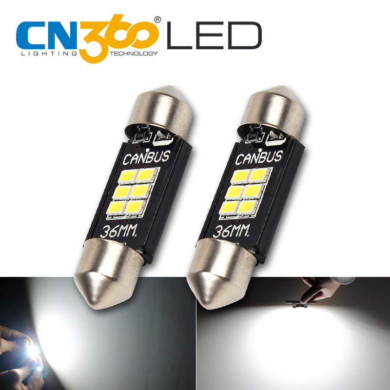 CN360 2PCS Extremely Bright Canbus Error Free 31mm 36mm 39mm 41mm Festoon Dome C5W Car LED Light Bulb