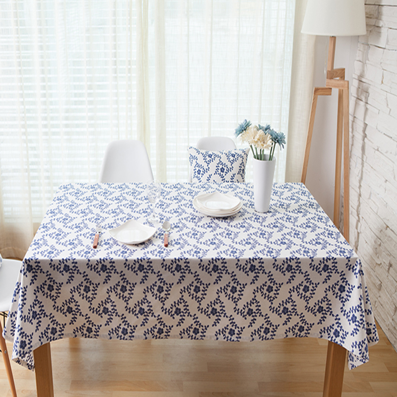 pure linen table cloth coffee tea table cloth white blue floral home hotel restaurant europe american style deal free shipment ...