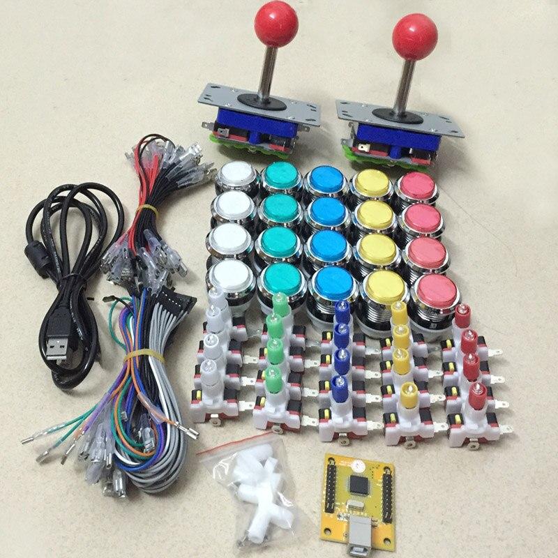 Jeu d'arcade kit de bricolage pour 2 joueurs PC PS/3 2 en 1 à Arcade joystck LED bouton interface USB 2 lecteur MAME Interface USB à Jamma