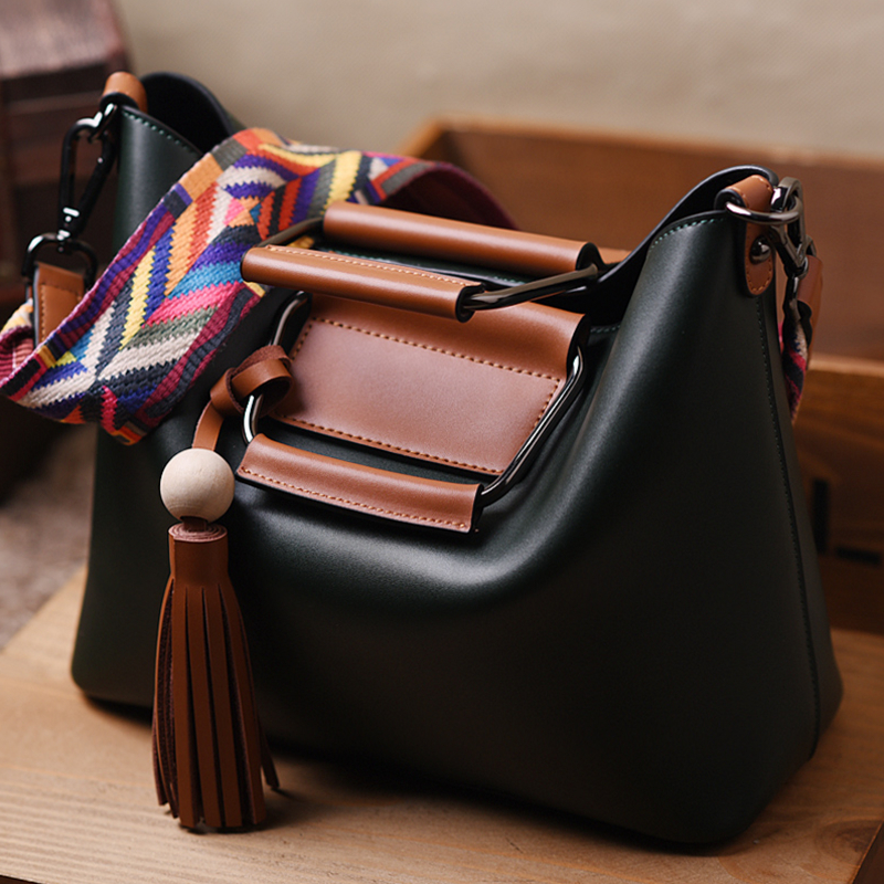 ФОТО 2017 High Quality Brand Genuine Leather Bags Casual Tassel Women Bags Cow Leather Shoulder Bag Composite Women handbags