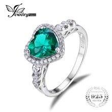 Jewelrypalace corazón del océano 1.8ct creado nano ruso creado esmeralda amor para siempre anillo de promesa de halo 925 anillo de plata esterlina