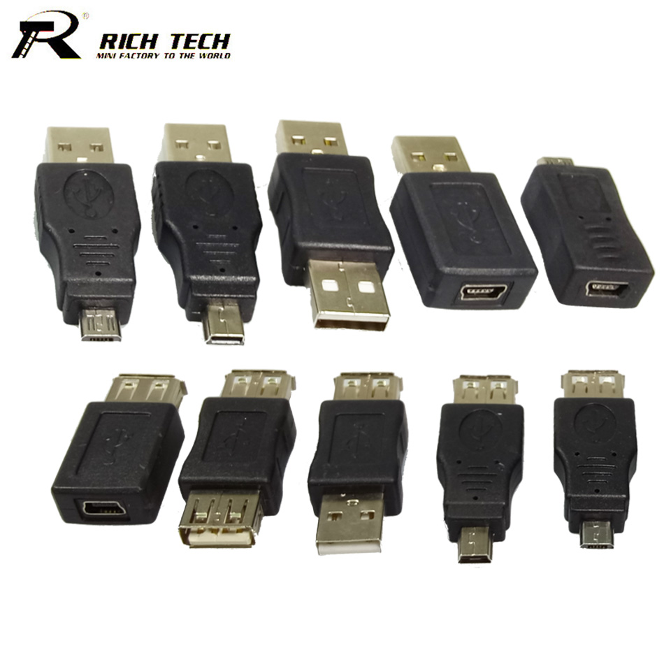 100pcs/10 Sets Full Set USB 2.0 Connector A Type Female Jack Male Plug 5 Pin Micro USB OTG MINI USB Adapter in Bulk Wholesales 2 set lot neutrik powercon type a nac3fca nac3mpa 1 chassis plug panel adapter