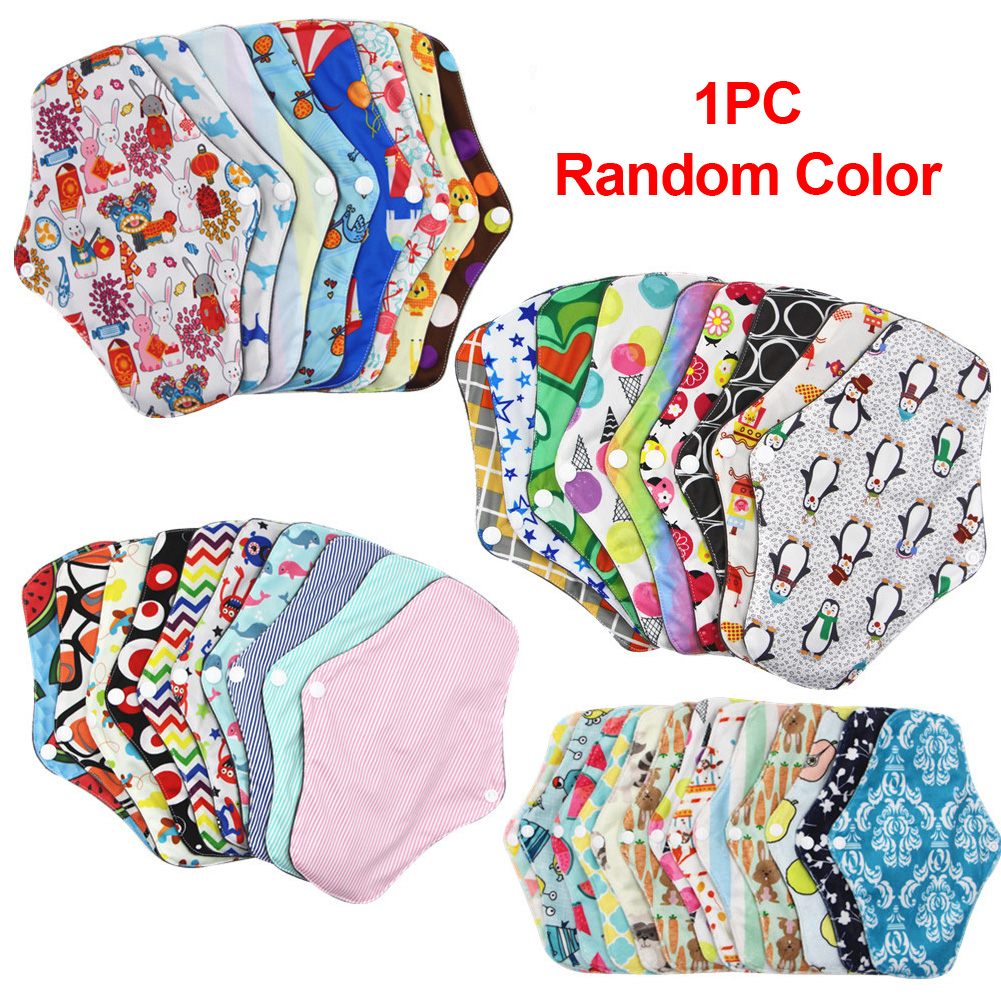 Washable Reusable Soft Towel Pads Menstrual Cloth Sanitary Women Panty Liner Random Color Absorbent Bamboo Cotton Physiological#