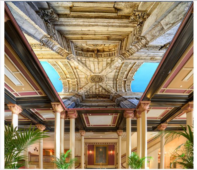 カスタム3d壁紙用天井壁画不織布壁紙ヨーロッパ大理石建物天井フレスコ3dルーム壁