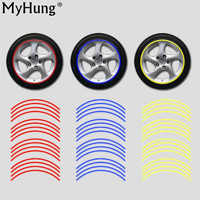3m Reflective Tape Car Motorcycle Rim Stripe 16 17 Wheel Decal Stickers Car Accessories Car Rim Tape Sticker 16pcs Per Set