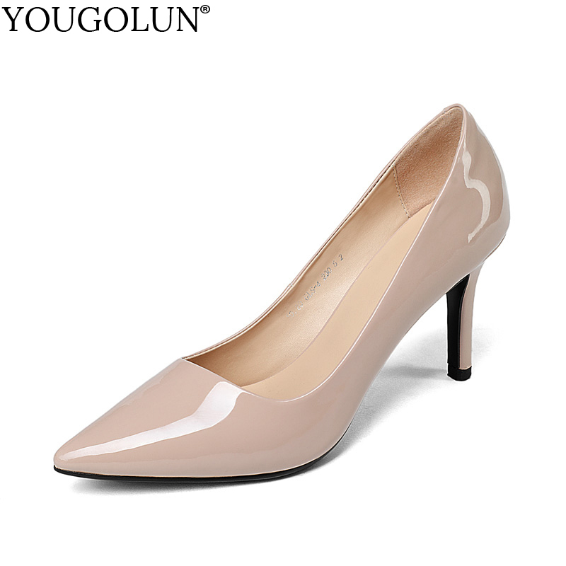 YOUGOLUN Women Pumps Genuine Patent Leather Office Lady High Thin Heels Elegant Woman Beige Black Pointed toe Party Shoes #A-070 annymoli genuine leather women high heels platform shoes crystal pointed toe thin heels wedding shoes bridal beige elegant pumps