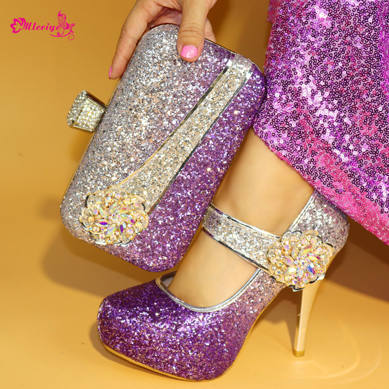 High Quality purple Italian Shoe and Matching Bag Set Decorated with Rhinestone African Shoes and Bag Set for Party In Women brand new microscope achromatic objective lens 4x 10x 40x 100x set free shipping page 9