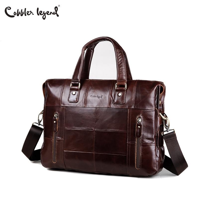 Cobbler Legend Genuine Leather Single Briefcase 13 inch Laptop Handbag Messenger Business Bags for Men Single Document Case cobbler legend 2015 messenger 100