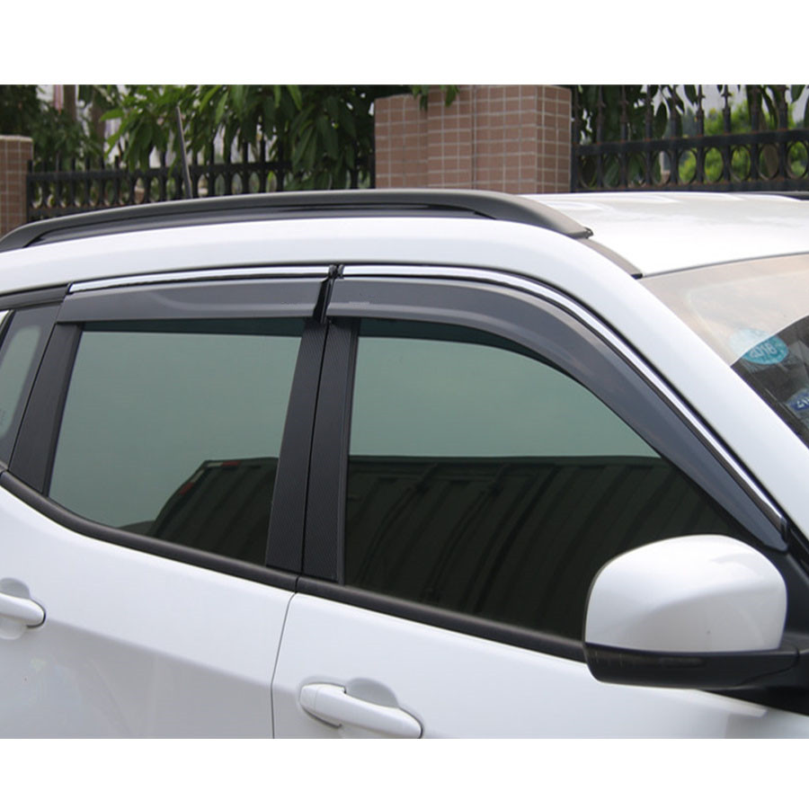 YAQUICKA 4Pcs Car Styling Window Exterior Roof Cover Guard Sun Visors Rain Shield Decorative Trim Strips For Jeep Compass 17+