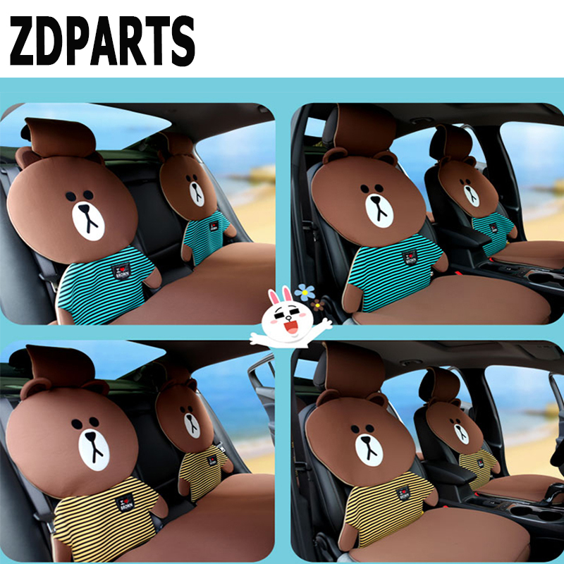 ZDPARTS Cartoon Car Seat Cushion Covers Warm Family Team For Toyota Corolla Avensis Rav4 c-hr Volkswagen VW Passat B6 B5 Polo