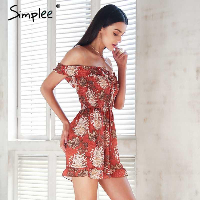 Женский комбинезон Simplee с цветочным принтом, женский ромпер, одежда бохо на шнуровке с открытыми плечами, летние короткие комбинезоны на бретелях