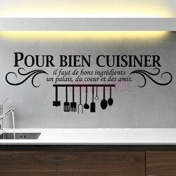 Cuisine française Autocollant Mural En Vinyle Amovible Versez bien cuisiner Murale Stickers Papier Peint Art Carrelage De Cuisine Sticker Décor À La Maison