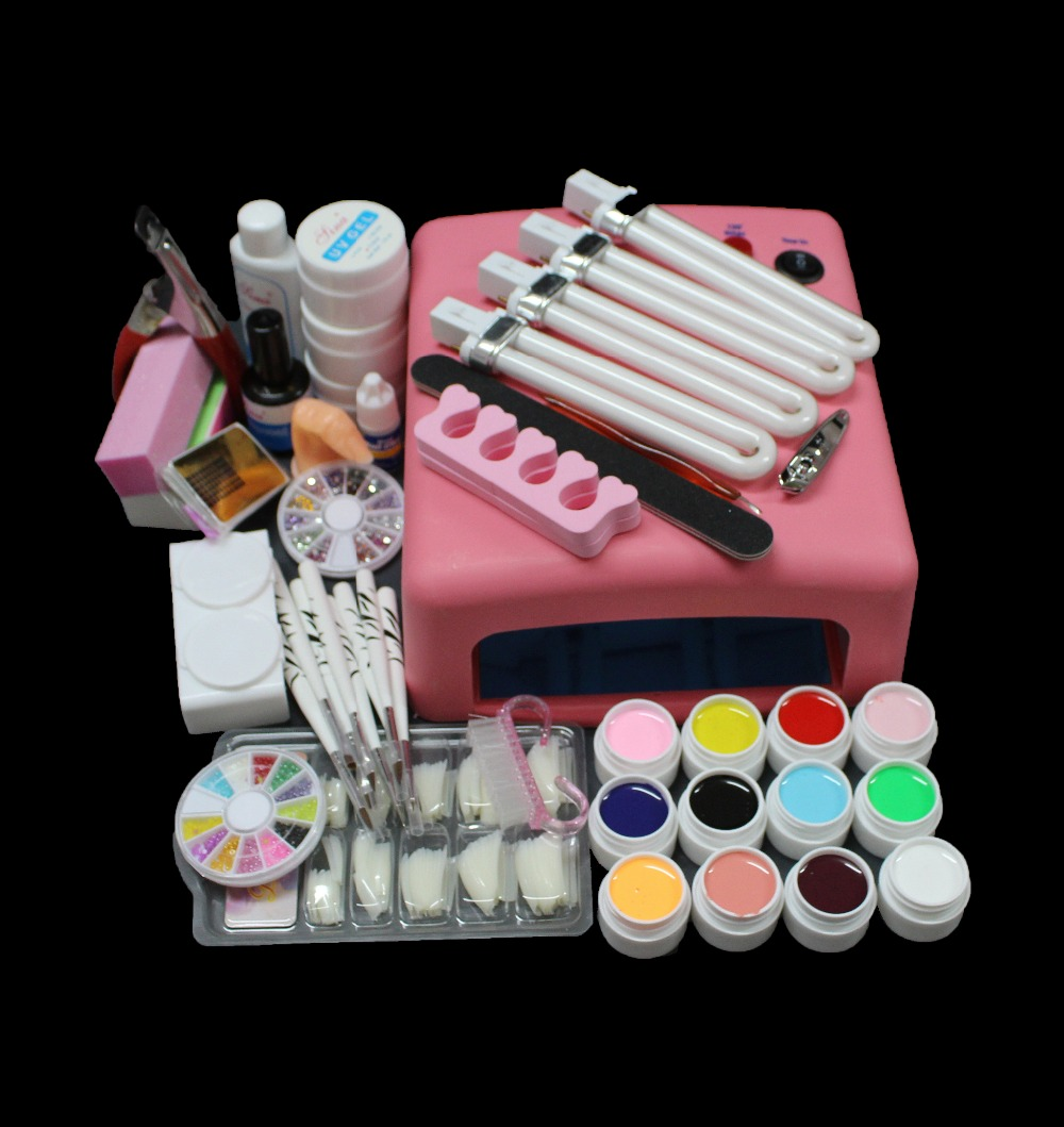Venta caliente Pro 36W UV GEL Lámpara rosada y 12 colores UV Gel Nail Art Tool Kits Sets BTT-93
