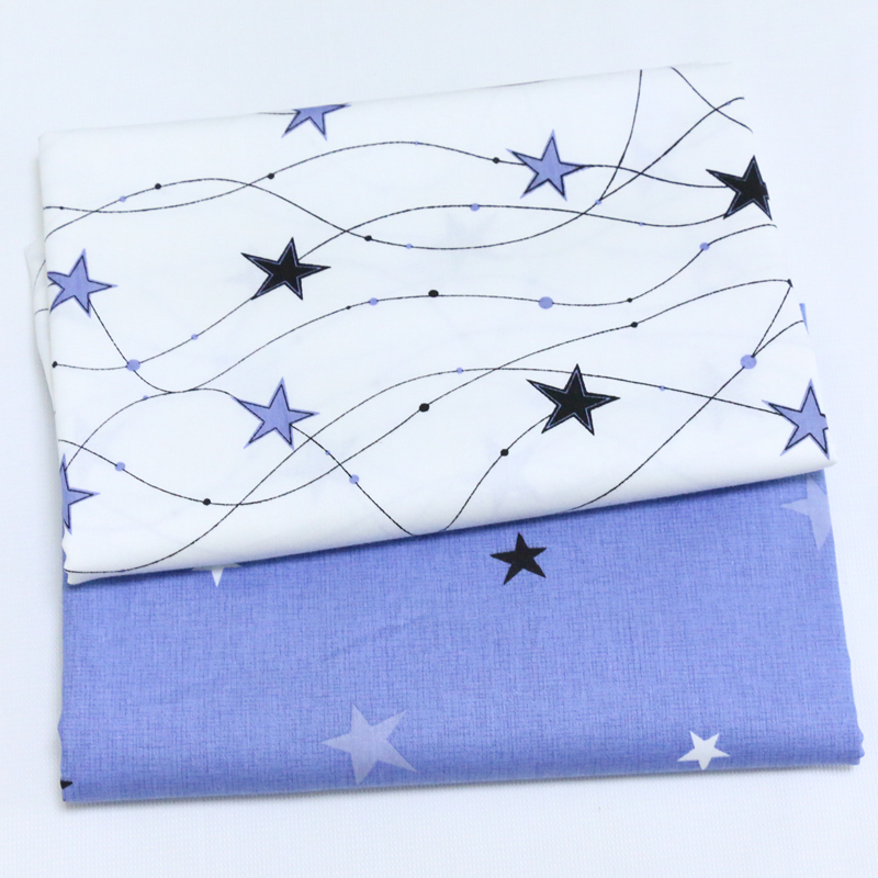 100% cotton twill cloth nordic wind white BLUE dancing stars fabric for DIY crib bedding cushions quilting handwork decoration