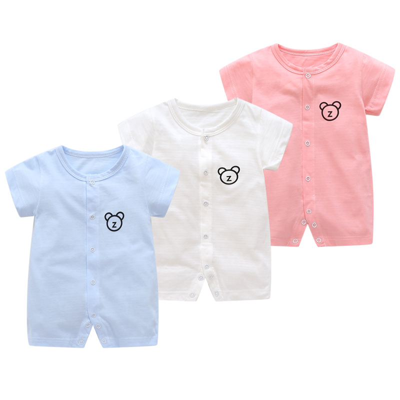 Summer Short Sleeve Children Romper Baby Summer Clothes Slim Breathable Jumpsuit Boy And Girls Closing Crotch For New Born Baby