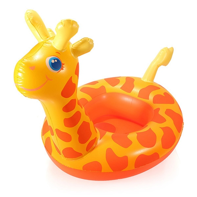 Amazing Cartoon Giraffe Seat Child Swim Ring Inflatable Boat Swimming Toy Inflatable  Floating Swimming Pool Raft Chair