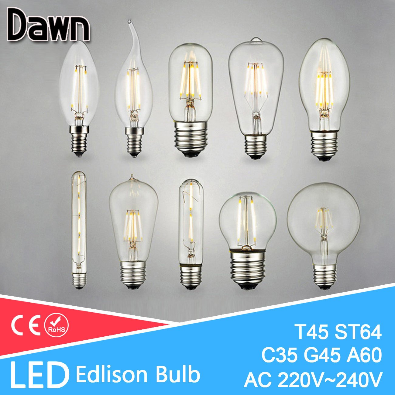все цены на E14 E27 Led Edison Bulb C35 G45 A60 ST64 G95 Light LED Bulb 8W 6W 4W 2W Christmas Retro LED Lamp Edison 220v Decorative Filament