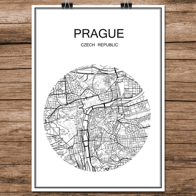 Black white world city map of prague czech republic print poster coated paper cafe bar living