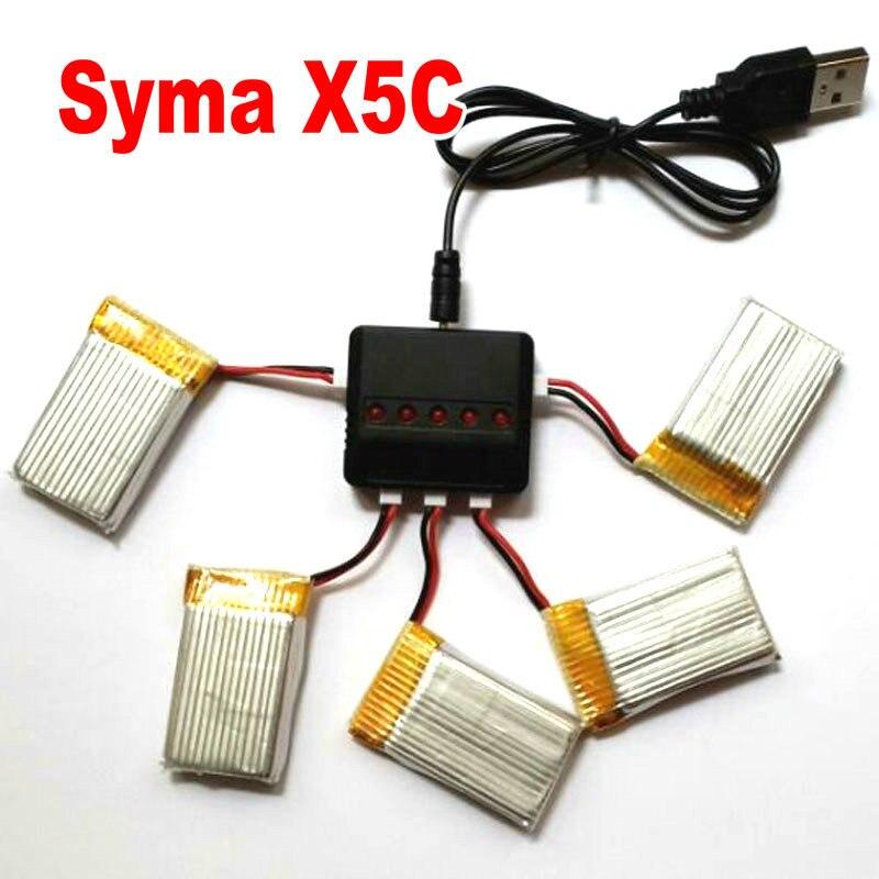 Syma X5SW X5SC Skytech M68 вертолет запасных частей X5C батарея 3.7 В 600 мАч с быстрой баланс зарядное устройство 1 в 5