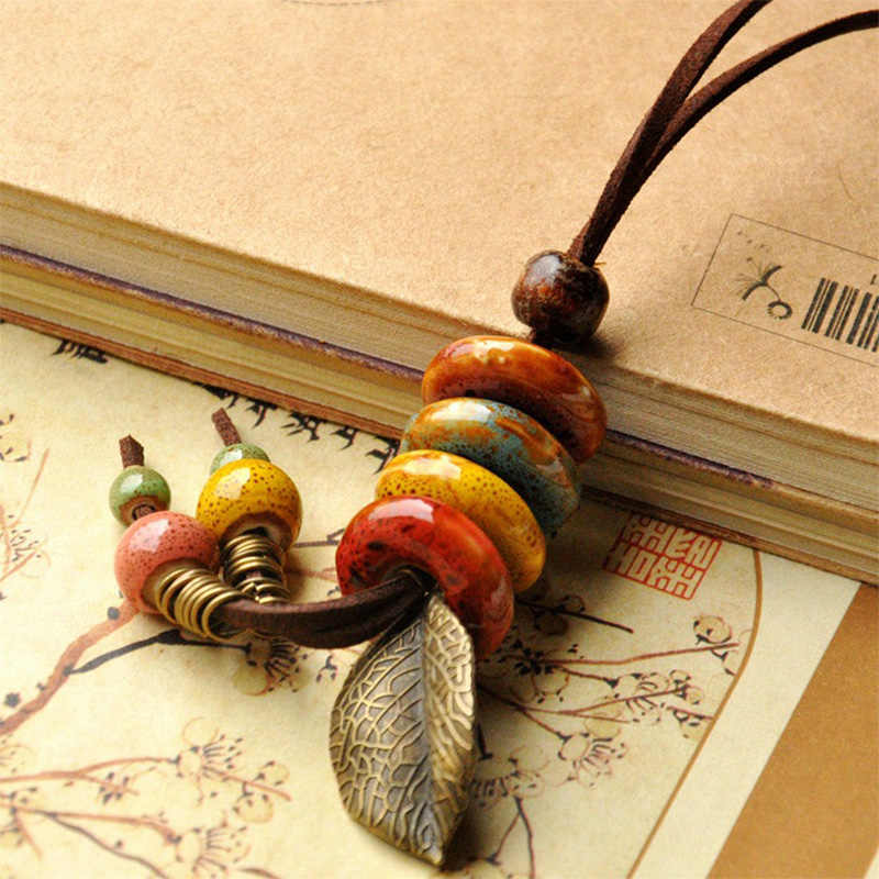 Leather Necklace Ceramic Beads Pendants Leaf Charm Long Sweater Chain Strand Choker Leaves Tassel Women Men Fashion Jewelry